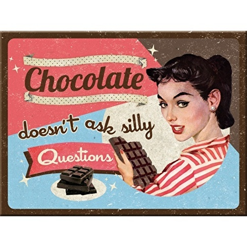 Nostalgic Art Chocolate Doesn' t Ask Magnet 6x8 cm Renkli